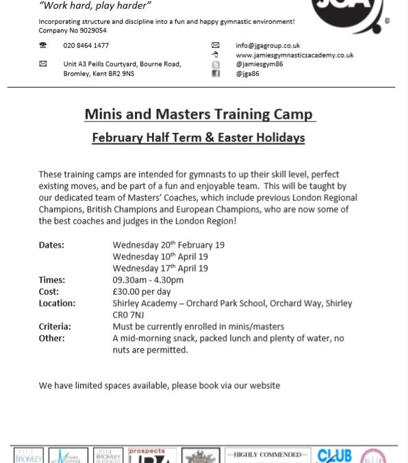 Minis/Masters Holiday Training Camps