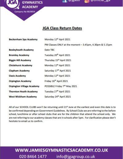 JGA Return Dates