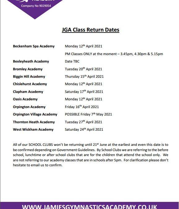JGA Class Return Dates